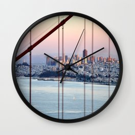 SAN FRANCISCO & GOLDEN GATE BRIDGE AT SUNSET Wall Clock