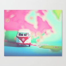 Red & White Vintage Bus Canvas Print