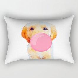 Cute golden retriever with chewing gum Rectangular Pillow