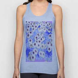 WHITE   FLORALS WITH BLUE FLOWERS Unisex Tank Top