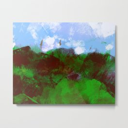 Nature landscape mountain vegetation blue sky clouds with birds flying illustration painting Metal Print