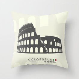 illustration of Roman Colosseum isolated on white background Throw Pillow