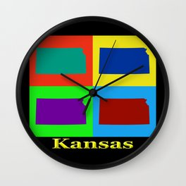 Colorful State Of Kansas Pop Art Map Wall Clock