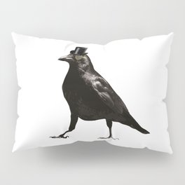 Raven Wearing Top Hat Pillow Sham