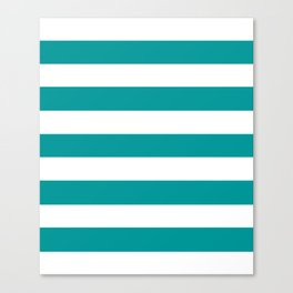 Viridian green - solid color - white stripes pattern Canvas Print