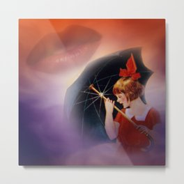 the girl and the umbrella Metal Print