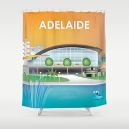 Adelaide, Australia - Skyline Illustration by Loose Petals Shower Curtain