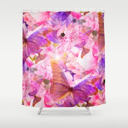 A Summer Dream Where Pink And Violet Butterflies Flying #decor #society6 #pivivikstrm Shower Curtain