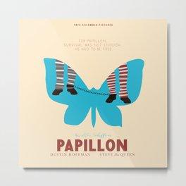 Papillon, Steve McQueen vintage movie poster, retrò playbill, Dustin Hoffman, hollywood film Metal Print