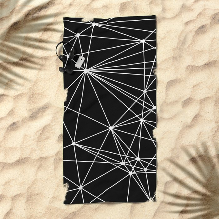 Black & White Geometric Web II Beach Towel