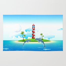 Jumping Dolphin on Sea Rug