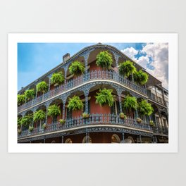 Southern Style - Hanging Ferns in French Quarter New Orleans Art Print