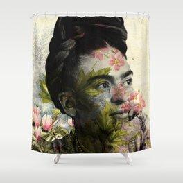 Flowered Frida Kahlo Shower Curtain