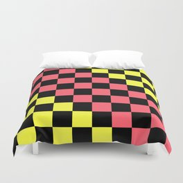 Black, Pink, & Yellow Checkerboard Pattern Duvet Cover