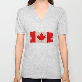 Canada Flag Maple Leaf Distressed Design Canadian Unisex V-Neck