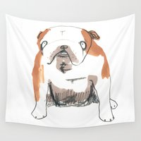 bulldog Wall Tapestries featuring Bulldog by jo clark