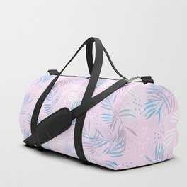 Elegant hand drawn tropical leaf pattern - pink and blue #tropicalart Duffle Bag