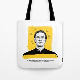 """Star Trek Valentine- """"My mental pathways have become accustomed to your sensory input patterns."""" Tote Bag"""