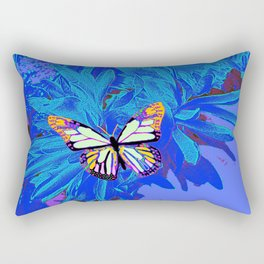 Tropical Blue Abstract Butterfly Purple Rectangular Pillow