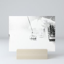 Snow Blasted // Black and White Ride on the Skilift in Blizzard Wind Mini Art Print