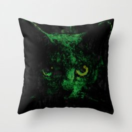 Night Vision Cat Abstract Painting Throw Pillow