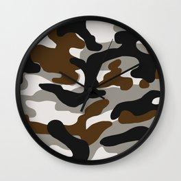 Modern Brown Combat Camo Wall Clock