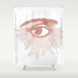 I see you. Rose Gold Pink Quartz on White Shower Curtain