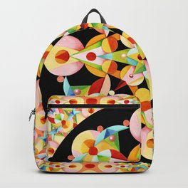 Pastel Carousel Black Circle Backpack