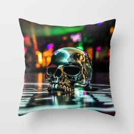 Rainbow Skull Ring Throw Pillow