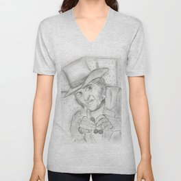 Scrooge in Black and White Unisex V-Neck