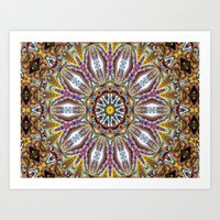 Lovely Healing Mandala  in Brilliant Colors: Black, Brown, Gold, Mauve, and Blue Art Print