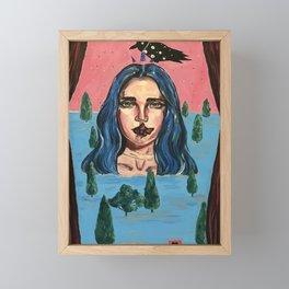 Night at my theater. Acrylic surrealism, blue hair, black raven  Framed Mini Art Print