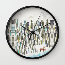 the winter forest Wall Clock