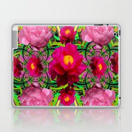 MODERN ART PINK PEONIES GREY ABSTRACT GARDEN Laptop & iPad Skin
