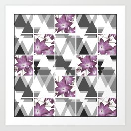 Pink lilies on a cramped gray background triangles . Art Print