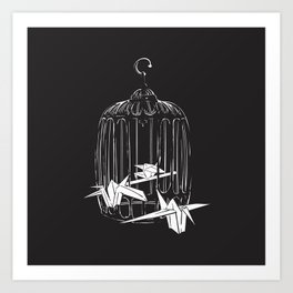 caged paper cranes Art Print