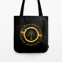 lord of the ring Tote Bags featuring Lord Of The Ring Circle by Electra