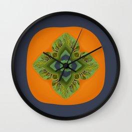 Persimmon Mandala Wall Clock