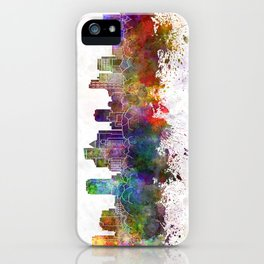 Fort Lauderdale FL skyline in watercolor background iPhone Case