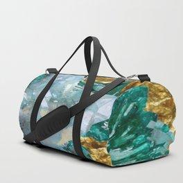 WHITE QUARTZ &  AQUAMARINE CRYSTALS  ON GOLD Duffle Bag