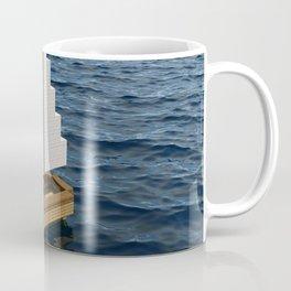 Mine craft boat on the ocean Coffee Mug