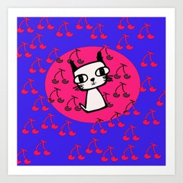 Cherry Kitty Art Print