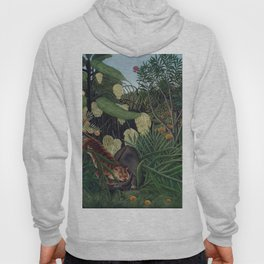 Fight between a Tiger and a Buffalo (1908) by Henri Rousseau. Hoody