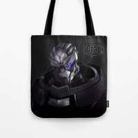 garrus Tote Bags featuring Garrus by audelade