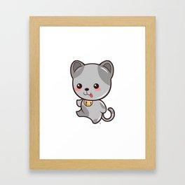 Happy Kitten Kawaii Framed Art Print