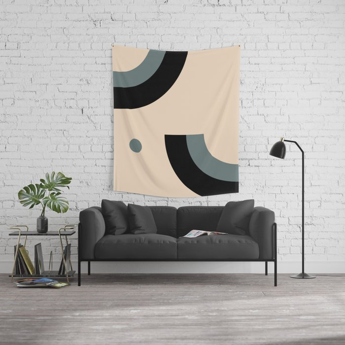 Gray Pink Black Wall Tapestry