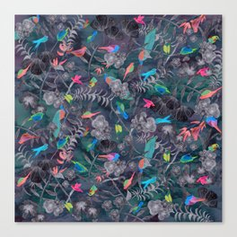 Birds and Flowers Color Pencil Canvas Print