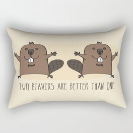 Two Beavers Are Better Than One Rectangular Pillow