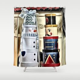 Snowman and Nutcracker Dialog Shower Curtain
