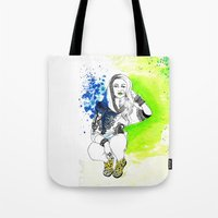 acid Tote Bags featuring Acid by N.I.S.